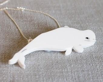 Beluga whale necklace sealife wildlife marine animal pendant