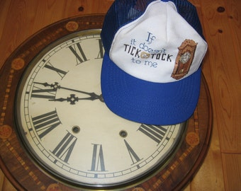 Clockmaker,  clock collector, Watch Maker, Watch Repairman's Baseball Hat cap  OOAK Cross-stitch