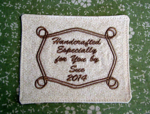 Personalized custom embroidered label for quilts