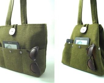 Green handbag, tote bag converts to hobo, shoulder bag, diaper bag, fabric purse, everyday bag