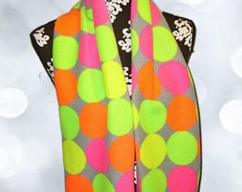 Retro Neon Dots Fleece Scarf, Neon Color Palette Muffler, Chic Bufanda