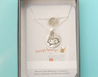Mother/Daughter silver BUNNY NECKLACE SET, Illustrations by Boygirlparty. Handcrafted by Chocolate and Steel