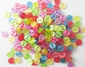 100 pcs translucent Very Tiny 2 hole button - 5 mm. assorted colors for making Barbie, Blythe and dolls clothes SET7