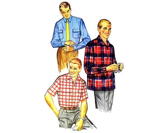 1950s Mens Sport Shirt Simplicity 1025 Shirt Vintage Sewing Pattern Small Chest 34 - 36