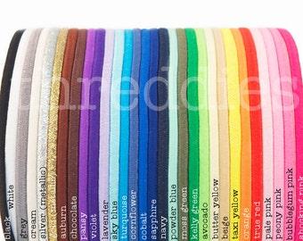 skinny elastic headbands - 6 super stretchy hair bands - YOU PICK COLORS - no metal