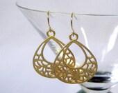 Matte Gold Cutout Teardrop Dangle Earrings on Gold Plated Earwires