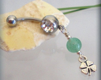 Shamrock Belly Ring, St Patricks Day, Four Leaf Clover Good Luck Charm Body Jewelry Navel Piercing (BR154)