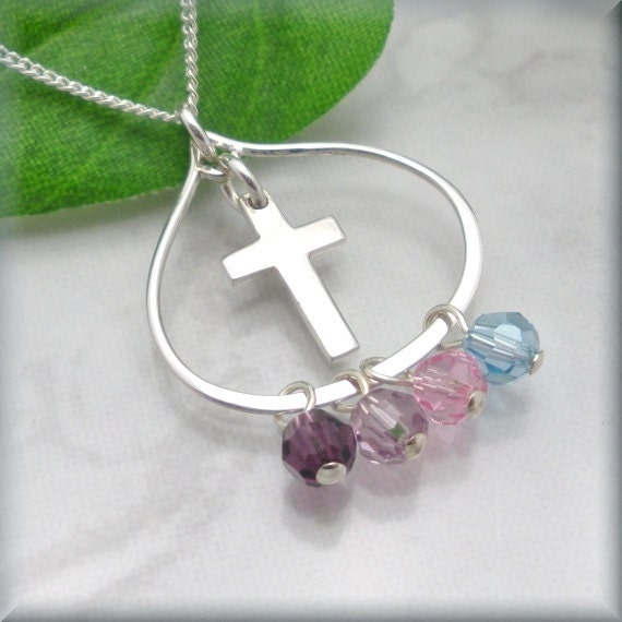 cross necklace mothers birthstone jewelry mothers day