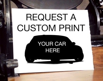 Custom Letterpress Print of Your Car