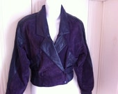 Vintage purple cropped thin soft suede and leather jacket medium