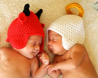newborn twin hats photography prop angel and devil