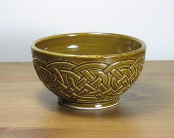 Amber Celadon Celtic Knotwork Bowl