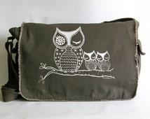 Owl Messenger Bag, Hand Screen Printed Cotton Canvas Messenger Bag, Gift for Women, Computer Bag, Book Bag, School Bag,  Diaper Bag