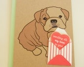 Valentine Boris the English Bulldog with Mini Envelope and Felt Heart Valentine's Day Note Card with Envelope