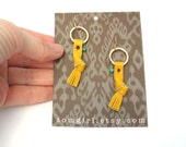 Treasure Tassel Earrings in Mustard Yellow Leather