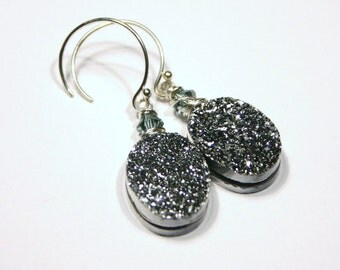 Silver Druzy Earrings Mirror Finish Metallic Sparkling Sugar Drusy Quartz Agate Oval Drops Sterling Gypsy Fortune Teller Jewelry Sparkle