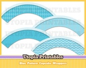 Blue Patterns Modern Cupcake Wrappers