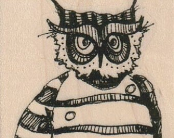 owl rubber stamp dressed in clothes  whimsical  Rubber Stamp by Mary Vogel Lozinak  tateam EUC team  19358