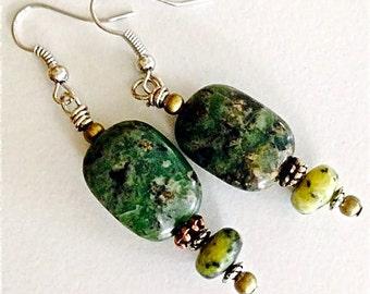 Green  jasper gemstone  earrings    pierced gemstone gift for her Mothers Day easter gift
