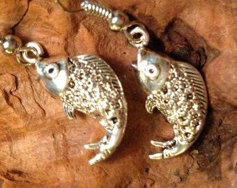 Silver fish earrings pierced jewelry charm sterling silver plate over solid copper hook ear ring tateam