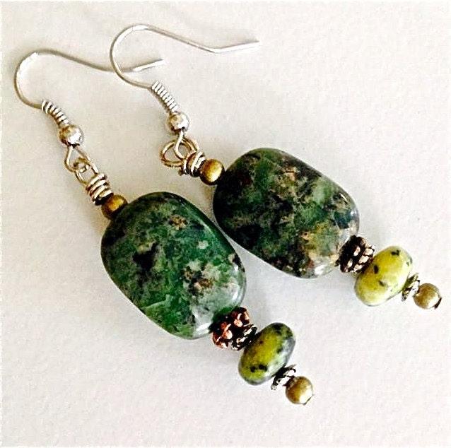 Bright Green Jasper Necklace Green Gemstone Necklace  |Green Jasper Jewelry
