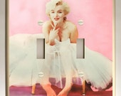 Marilyn Monroe - Pink and White Double Toggle Light Switch Plate