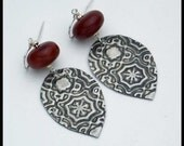 CASABLANCA - Handforged Embossed Pewter and Amber Resin Moroccan Tile Earrings