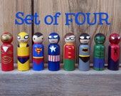 Superhero Peg People - Your choice of FOUR Heroes Wooden Hand Painted Peg dolls