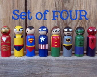 Superhero- SET OF 4-  Peg People - Your choice of FOUR Heroes Wooden Hand Painted Peg dolls