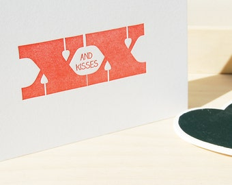 Hugs and kisses red, letterpress card - love, friendship, sympathy