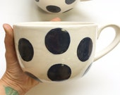 RESERVE for MARIA, one midnight blue polka dot latte mug set - extra large jumbo mugs, hand painted