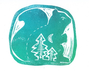 Friendly Forest Squirrel hand printed card blank inside with envelope