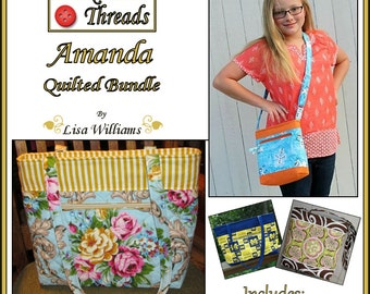 INSTANT DOWNLOAD: Amanda Quilted Bundle - diy Tutorial pdf eBook Pattern - 3 Sizes Purse, 3 Sizes Tote