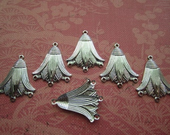 Lotus Flower Egyptian Charms Art Deco Silver Tone WITH 3 BOTTOM RINGS on Etsy x 6