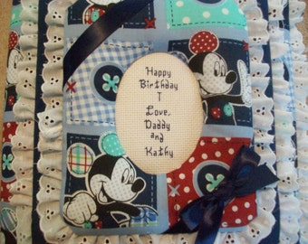 MICKEY MOUSE PATCHWORK Custom Personalized Photo Album / Scrapbook