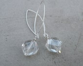 Faceted Crystal Earrings sterling silver with clear crystal drops gift under 25 winter fashion