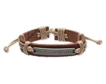 When There is a Will, There's a Way leather Bracelet