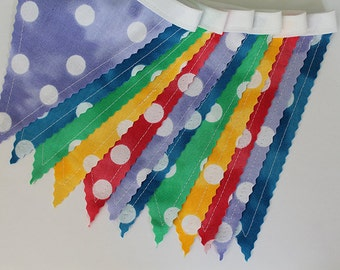 Rainbow Dots Bunting party decoration. Fabric sewn flag banner. Photo prop. 12 pennant flags