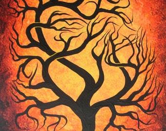 Red twisted TREE, Original tree painting by UNICEF Artist Jordanka Yaretz