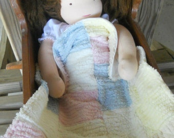 Waldorf Doll Quilt - Patchwork - Doll Bedding -  Natural - EcoKids Toy