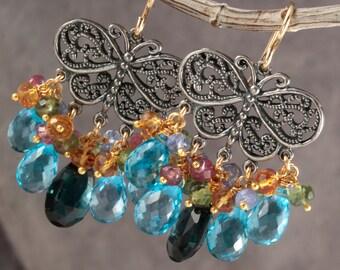 London & Swiss Blue Topaz Butterfly Dangle Chandelier Earrings