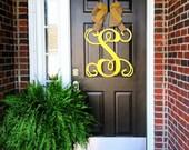 Custom Single MONOGRAM door hanger / BURLAP bow/ House warming gift/Script/chevron/Initial/wooden/wedding gift/front door decor/nursery wall