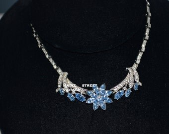 Vintage Exquisite Ora Blue and Crystal Pave' Rhinestone  Floral Marquis Jewelry Crystal Necklace