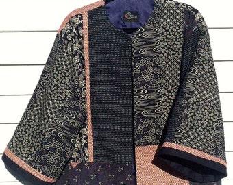 Indigo Fireflies and Flowers on a Kimono Style Jacket