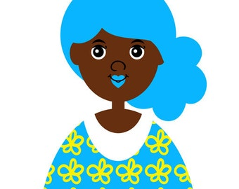 Girl 13, Art Print, (Blue Hair Mermaid African American Children's Illustration) 5x7 8x10 11x14