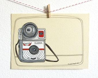 Illustration - Orignal Illustration - Wall Art - Home Decor Art - Vintage Camera Illustration - Camera Drawing - Imperial Lark