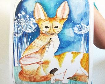 Art - Art Print - Fennec Fox Art - Fox Art - Art Print - Large Print - Art for Kids Room - Wall Decor - 11x14 Print - Two Fennec Foxes