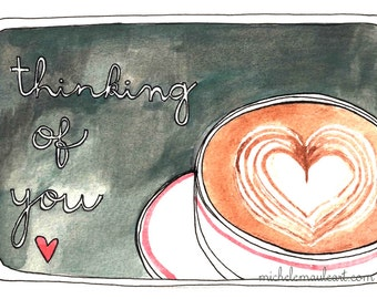 Latte Postcard - Coffee Postcards - Love Postcards - Set of Postcards - Latte Postcards - Friendship Postcards - Thinking of You