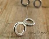 Silver Circle Stud Earrings, Circle Studs, Minimalist Geometric Jewelry, Post Earrings