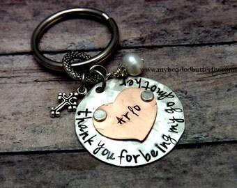 godparent gift-baptism gift-christening-thank you for being my God Parent-key chain-keychain